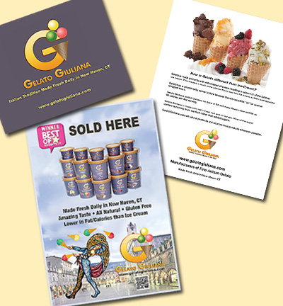 marketing collateral for Gelato Giuliana
